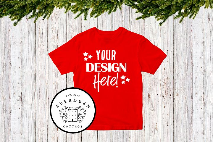 Childrens Christmas Red T-Shirt Mock Up Style 1