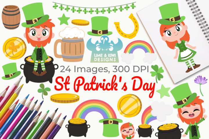St Patricks Day Clipart, Instant Download Vector Art