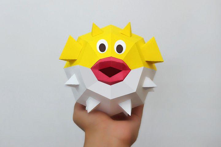 DIY Puffer fish,Papercraft fish,3d Puffer fish,Paper toy