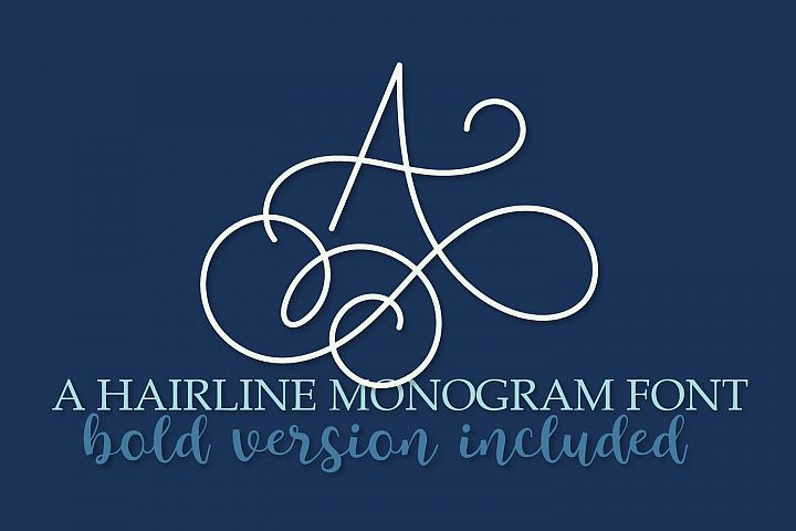 Hairline Monogram Font - Bold Version Included