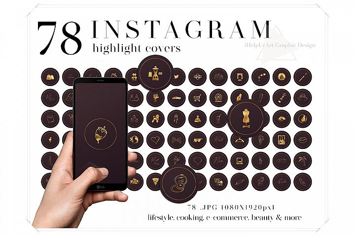 78 Instagram Story Highlight Covers - Gold and Choco