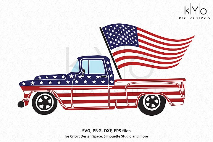 4th of July American flag truck SVG DXF PNG EPS files