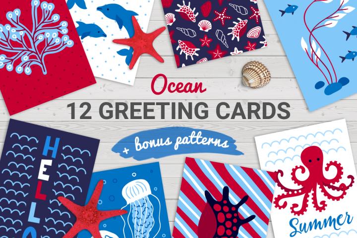 12 Ocean Cards & Bonus Patterns