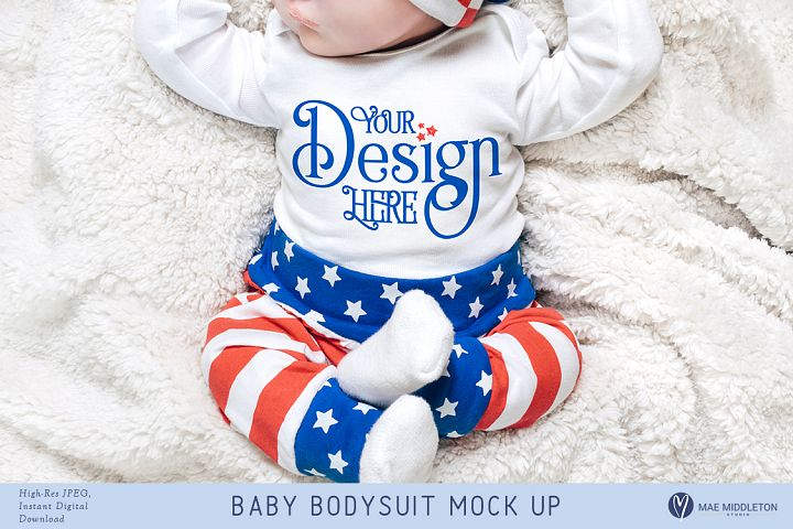 Baby Bodysuit mock up - Patriotic