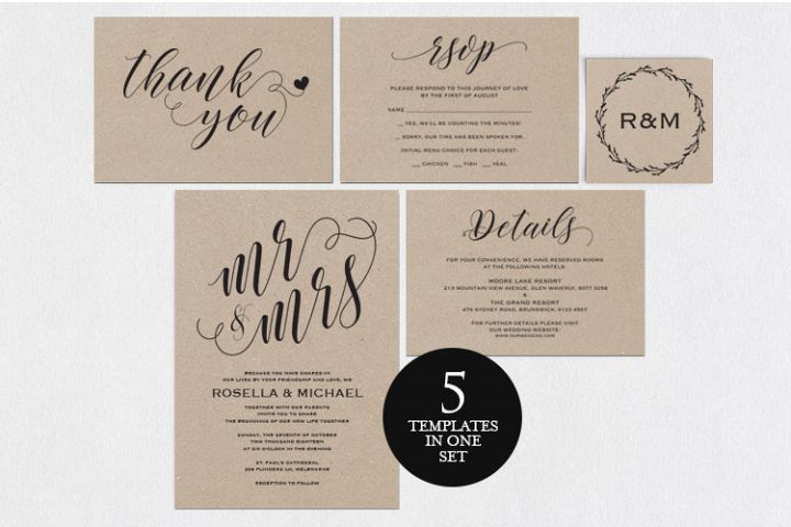 Wedding invitation set landscape, TOS_4