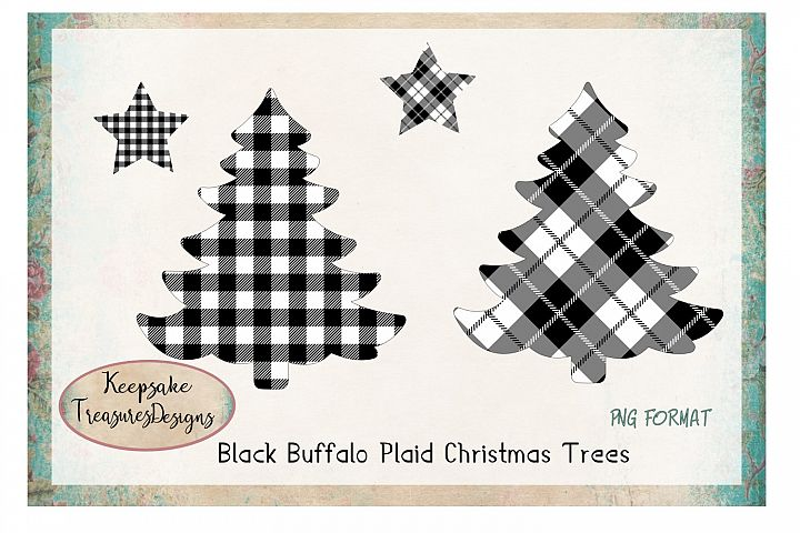 Black Buffalo Plaid Christmas Tress With Stars