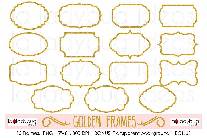 Golden frames. Clip art. Foil gold frames.