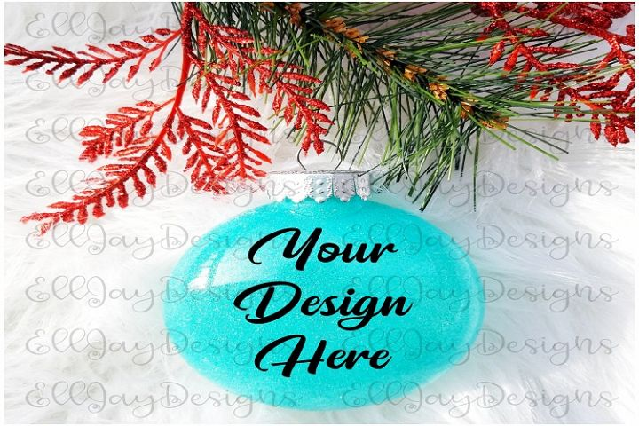 Teal Christmas Glitter Ornament Mock up