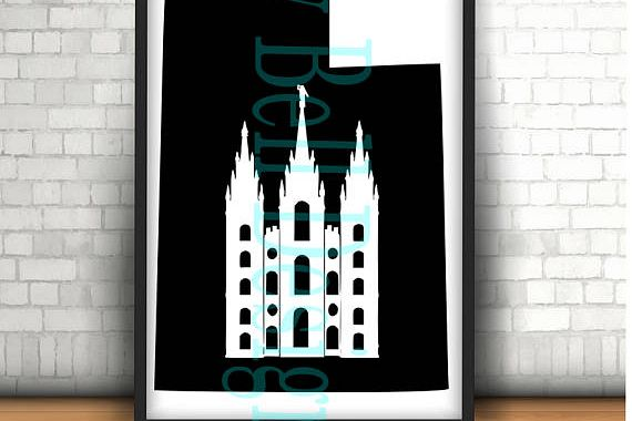 UTAH Salt Lake City Mormon Temple, Digital Instant Download File. Svg, dxf, png Silhouette, Cricut, Plotter UT, LDS, Temple Square, Historic