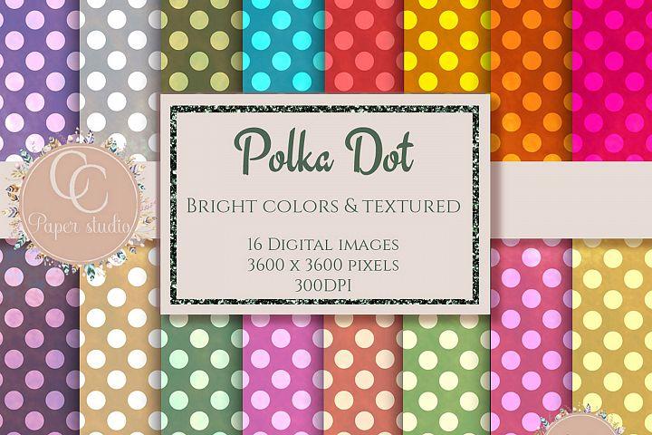 Bright polka dot digital paper