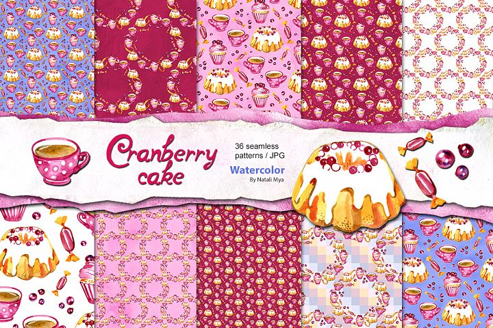 Watercolor cranberry cake patterns