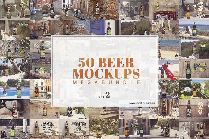50 Beer Mockups Bundle Vol. 2