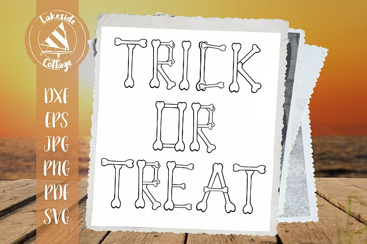 Trick or Treat Bones Halloween Skeleton svg dxf eps