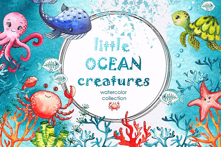 Little OCEAN creatures. Watercolor collection