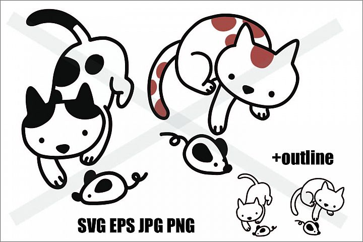 Cat Playing a Rat - SVG EPS JPG PNG