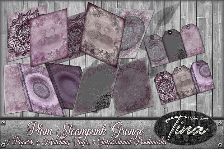 NEW Plum Steampunk Grunge Antique Lace Tags Bookmarks Clocks