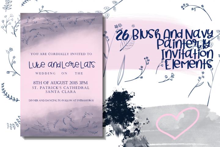 26 Blush and Navy Invitation Elements