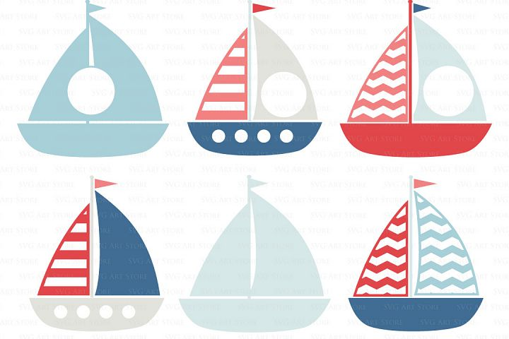 Nautical SVG Files - sailing boat svg cut files for Cricut and Silhouette - SVG, dxf, png, jpg - Sailboat svg, boat monogram svg cut files