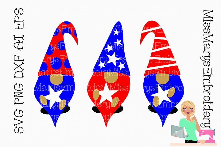 Patriotic Gnomes SVG Cutting File PNG DXF AI EPS