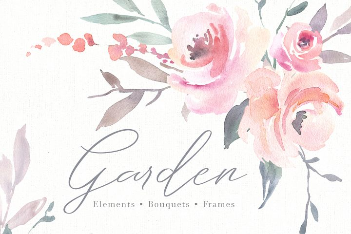 Pink Watercolor Flowers, Bouquets, Frames