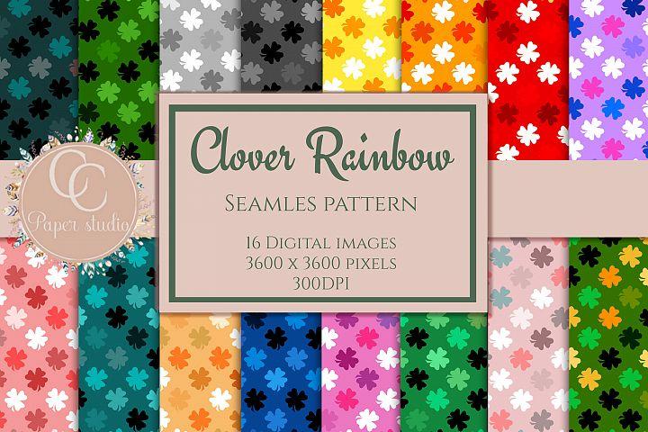 16 Rainbow coloured Clover pattern digital paper