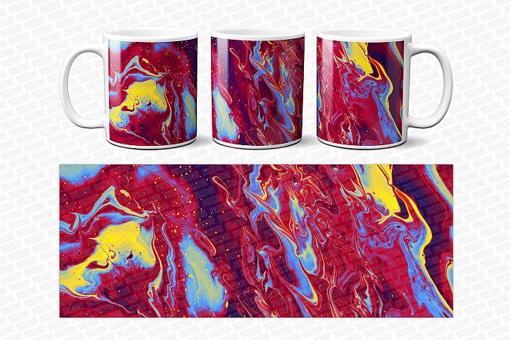 Colorful Ink Liquid Paint Sublimation Mug Design