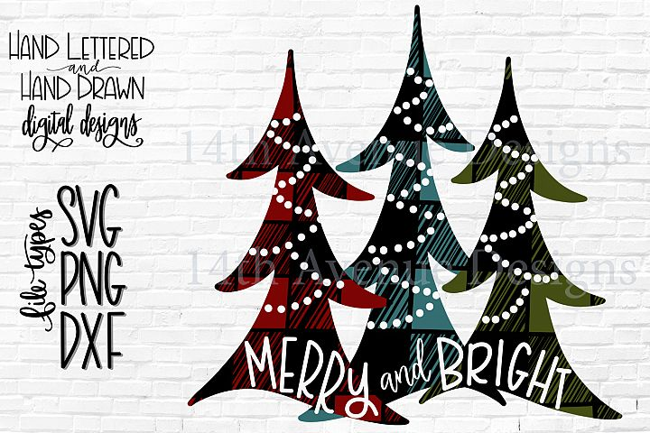 Christmas Tree Sublimation, Merry and Bright Sublimation PNG