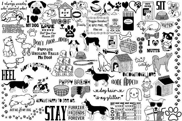 Doggie Doodles AI EPS PNG, Dog Adoption, Food, Vet Logo