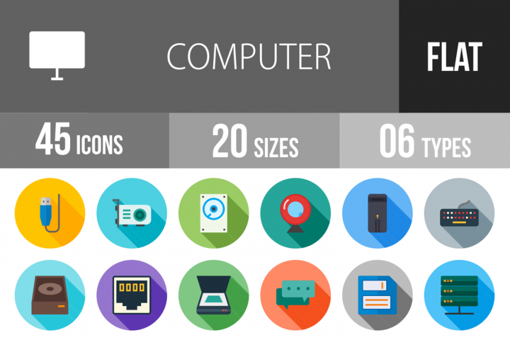 45 Computer Flat Long Shadow Icons