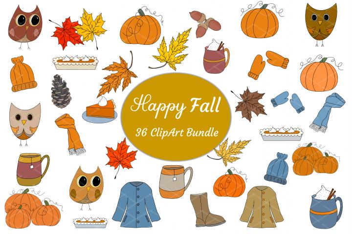 Fall ClipArt Bundle Sublimation Owls Leaves Pumpkins Pie Mug