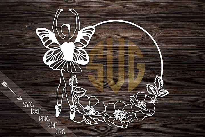 ballerina butterfly wings monogram paper cut template svg