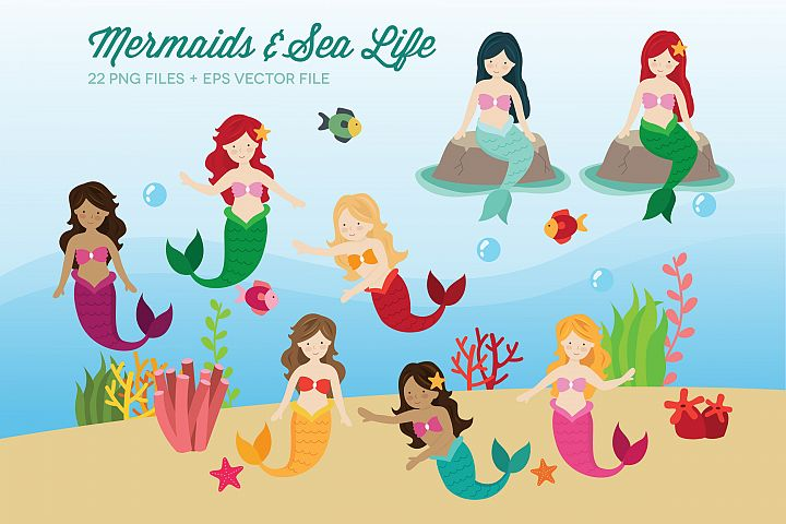 Mermaids and Sea Life Clipart