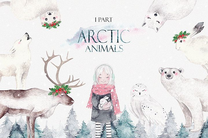 ARCTIC ANIMALS watercolor set PART 1