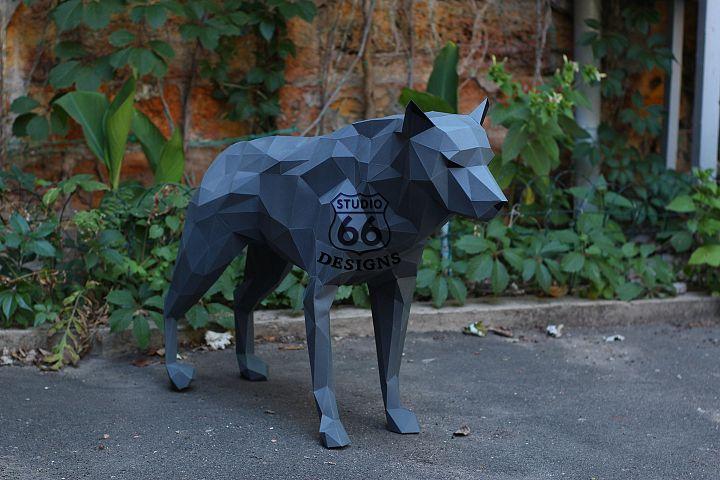 Papercraft Wolf, Paper Wolf, Dog Papercraft, Wolf Statue