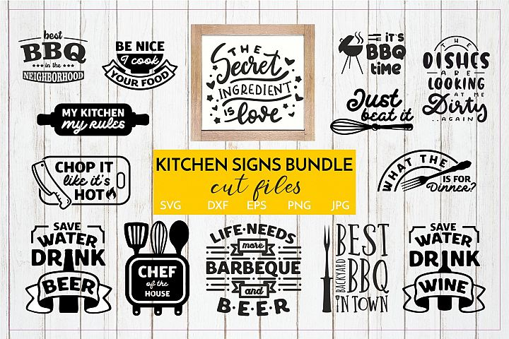 Funny Kitchen Signs quotes SVG Bundle Cut files