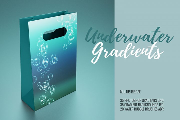 35 Underwater Gradients GRD & 35 Gradient Backgrounds JPG