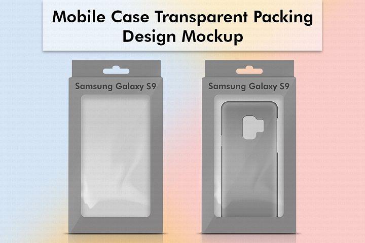 Mobile Case Transparent Packing Design Mockup