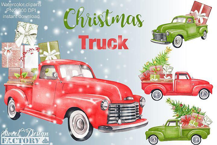 Watercolor Christmas retro truck clipart