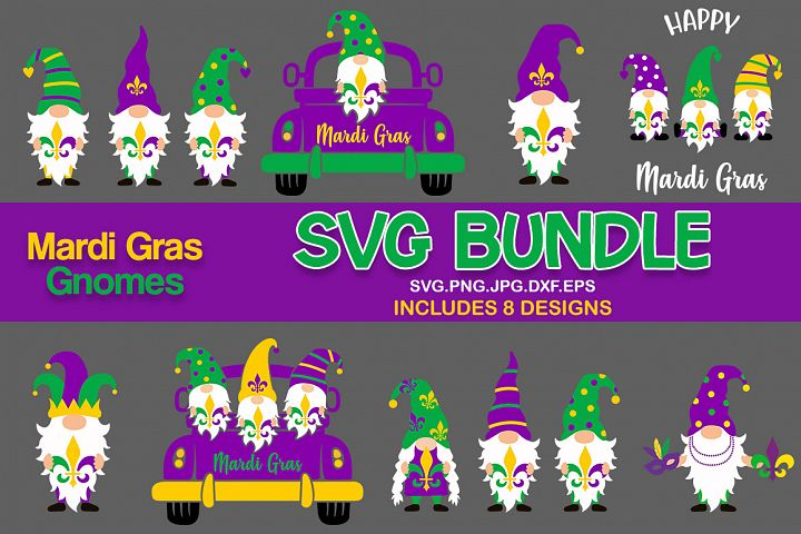 mardi gras gnomes svg bundle, mardi gras svg bundle