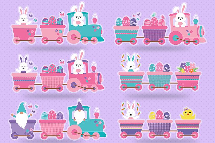 Easter Train Bundle, Easter Bunny Svg, Easter Bundle Svg