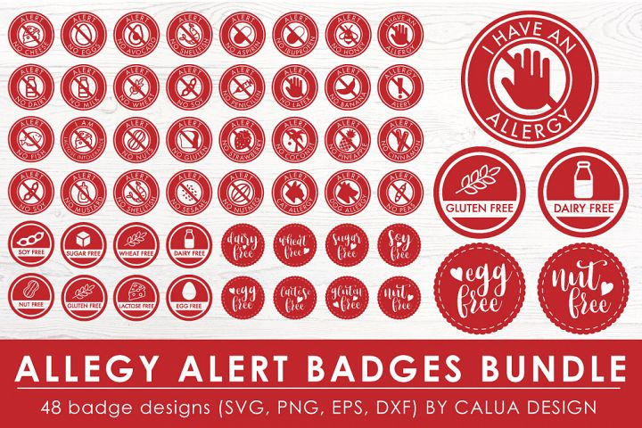 Allergy Alert Badges SVG Cut File Bundle