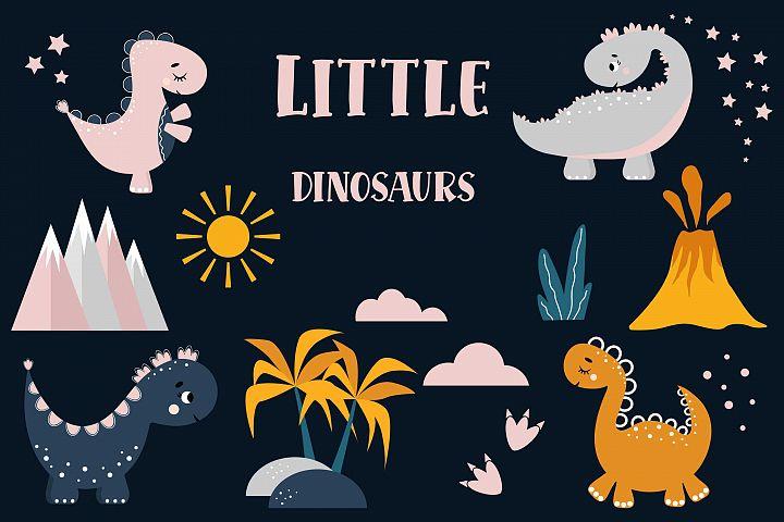 Dinosaur Clipart, Baby shower. Digital clipart set. Dino