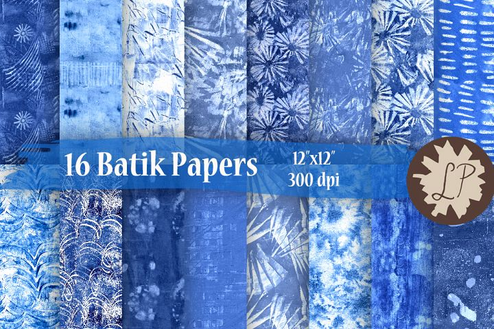 16 Blue Batik Style Watercolour Papers