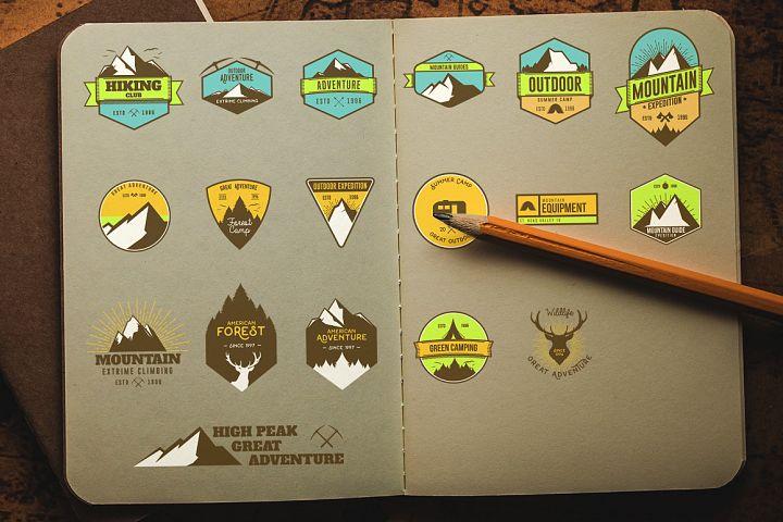 18 Vintage Mountain Badges