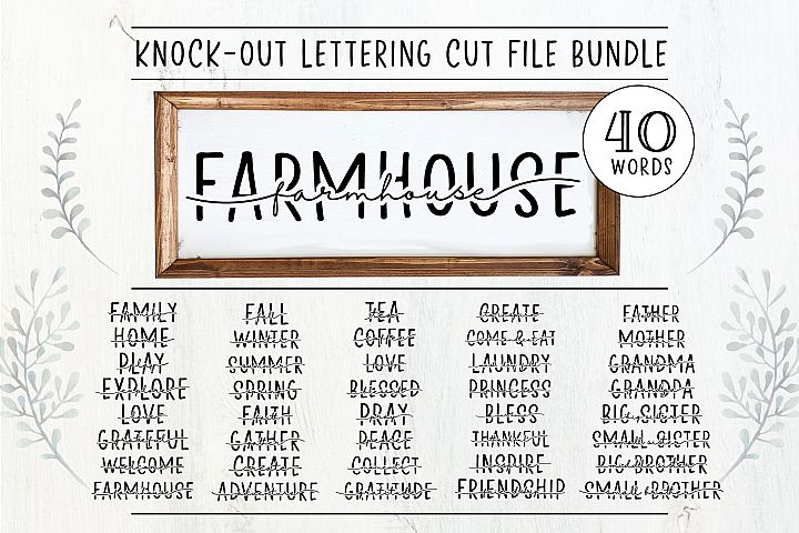 40 Words Included! Knock Out Lettering Cut File Bundle