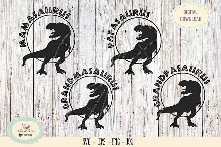 mamasaurus papasaurus t-rex 4 bundles dinosaurs SVG PNG