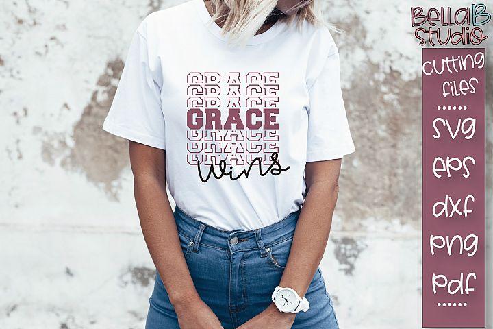 Grace Wins SVG File, Christian SVG, Mirrored SVG Design