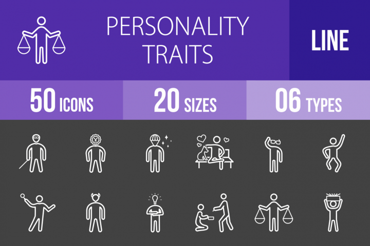 50 Personality Traits Line Inverted Icons
