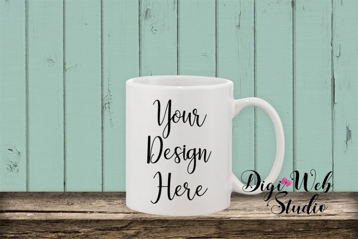 Coffee Cup Mockup - Shabby Chic Coffee Mug w/ Rustic Shiplap