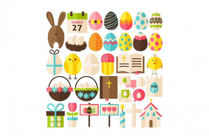 Happy Easter Vector Isolated Objects example 4